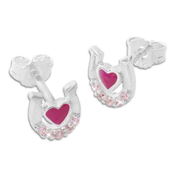 Kinder Ohrstecker Hufeisen mit Herz und rosa Zirkonia 925 Silber