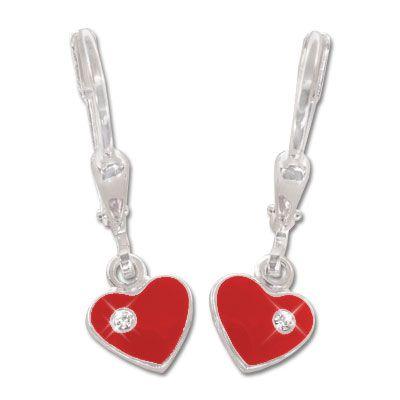 Kinder Herz Ohrhänger rot Strass Steine 925 Silber Mädchen Ohrringe