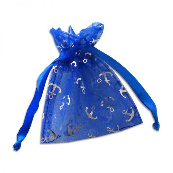 Organzabeutel königsblau mit silbernen Ankern - blauer Schmuckbeutel