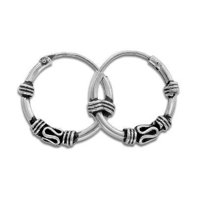 Gothic Creolen 925 Silber 14 mm Bali Gothicschmuck Ohrringe