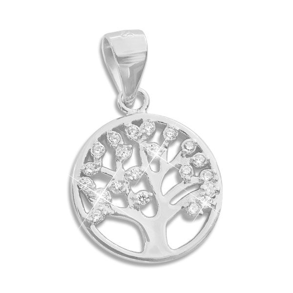 Anhänger Lebensbaum mit Zirkonia Steinen 925 Silber