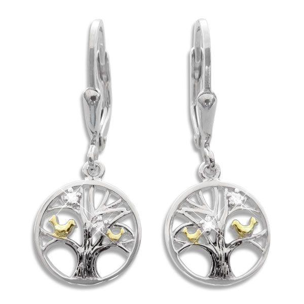 Bicolor Zirkonia Ohrringe mit Baum des Lebens und Vögeln 925 Silber