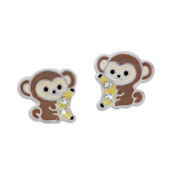 Ohrstecker Affe und Banane mit Kristallen 925 Silber für Kinder