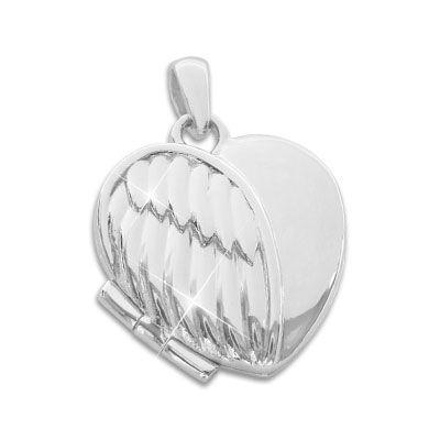Herz Medaillon Anhänger Engelsflügel Federn 925 Silber