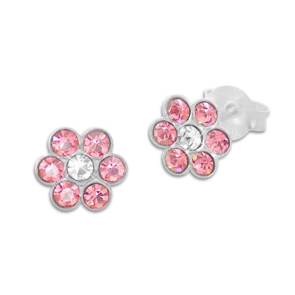 Kinder Ohrstecker Blumen rosa und weiße Kristalle 925 Silber