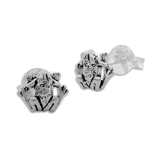 Frosch Ohrstecker Kröten geschwärzt 925 Silber