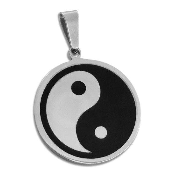 Großer runder Edelstahlanhänger mit Yin Yang schwarz lackiert