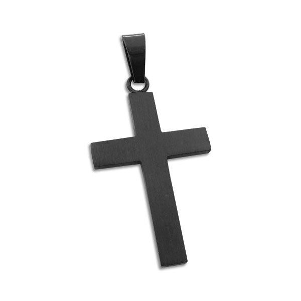 Edelstahl Kreuz Anhänger mattiert schwarz Edelstahlanhänger
