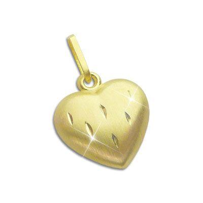 Herz Anhänger mattiert diamantiert 8 mm 333 Gold