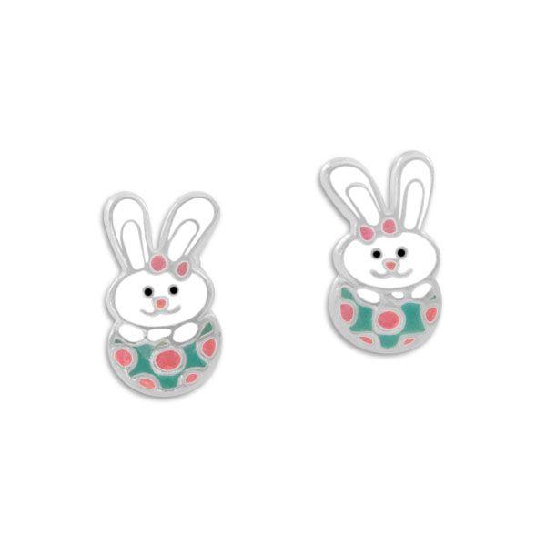 Ohrstecker Hase im Osterei 925 Silber Geschenk für Kinder zu Ostern
