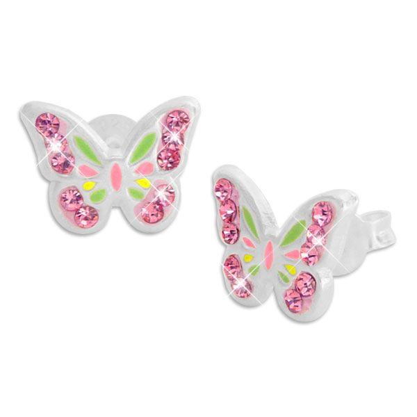 Kinder Ohrringe mit Schmetterlingen und rosa Strass 925 Silber