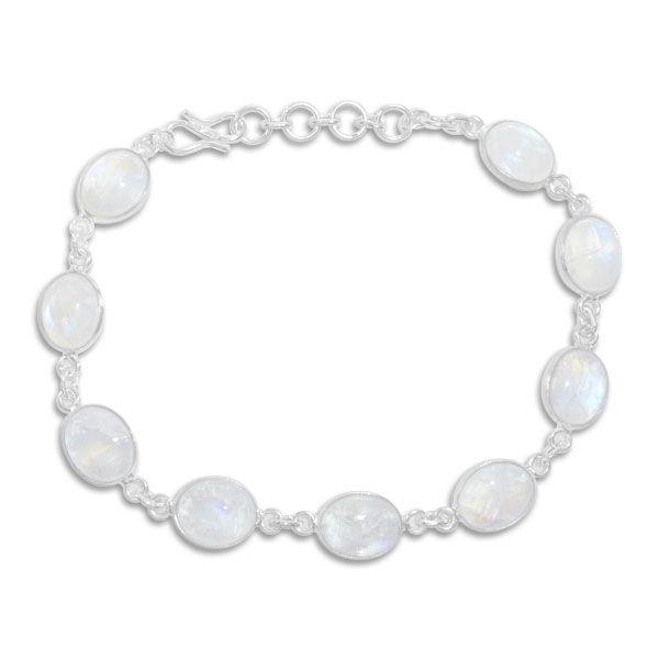 Edelsteinarmband 9 große ovale Mondsteine 19,5 - 22,5 cm 925 Silber