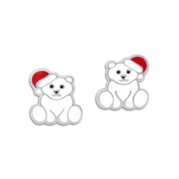Eisbär Ohrringe mit Weihnachtsmütze 925 Silber
