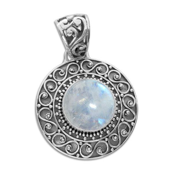 Runder Mondsteinanhänger mit filigranem Design 925 Silber