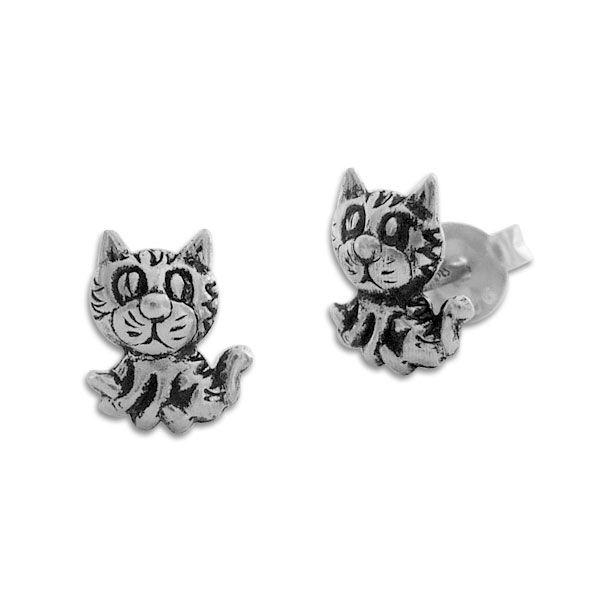 Ohrstecker Katze geschwärzt 925 Silber Katzen Ohrringe