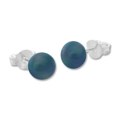 Zuchtperlen Ohrstecker dunkel 925 Silber Ohrringe mit Süßwasserperlen