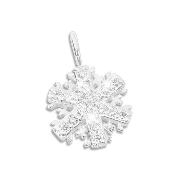 Anhänger Schneeflocke Eiskristall Zirkonia 925 Silber für Kinder und Damen