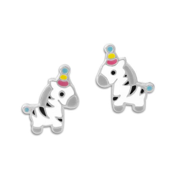 Kinder Ohrstecker Ohrringe Party Zebra 925 Silber