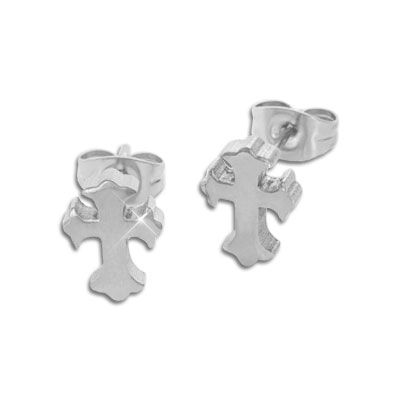 Edelstahl Ohrringe Kreuz groß