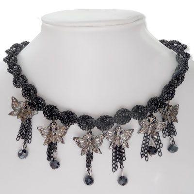 Gothic Perlencollier mit Schmetterlingen