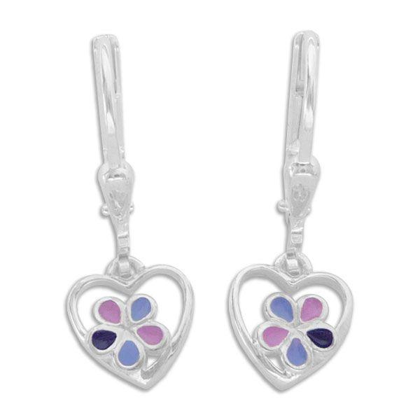 Herz Ohrringe für Kinder mit lila Blumen 925 Silber