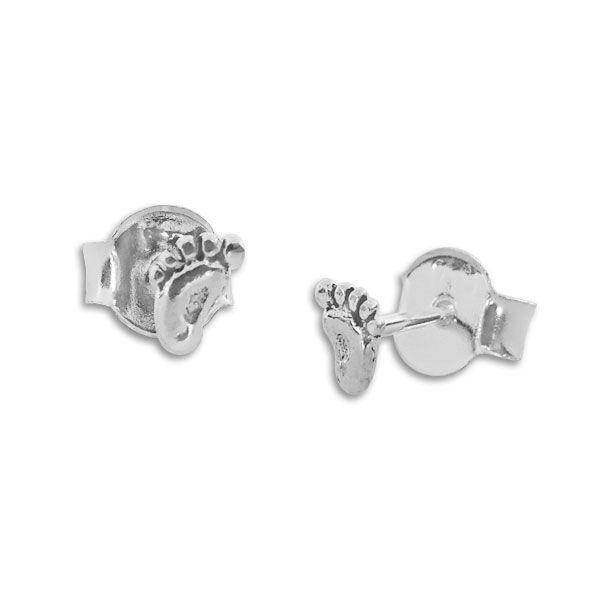 Ohrstecker Mini Füße geschwärzt 925 Silber Ohrringe mit Füßchen
