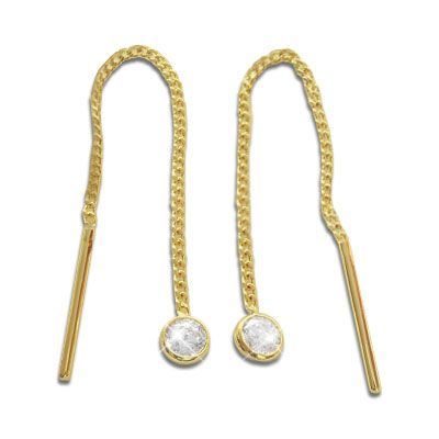 Durchzieher Ohrringe mit Zirkonia 333 Gold