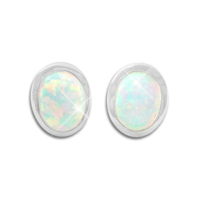 Opal Ohrstecker 9 x 7 mm oval 925 Silber