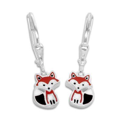 Kinder Ohrringe mit Füchsen Fuchs 925 Silber