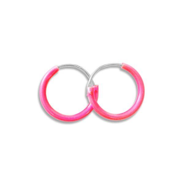 Creolen neon pink 13 mm 925 Silber
