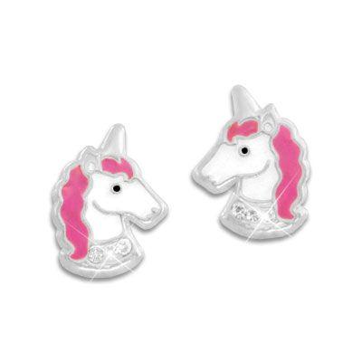 Ohrstecker Einhorn mit pinker Mähne und Strass Steinen 925 Silber Ohrringe mit Einhörnern für Kinder