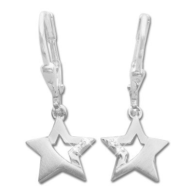 Stern Ohrringe mit Zirkonia 925 Silber