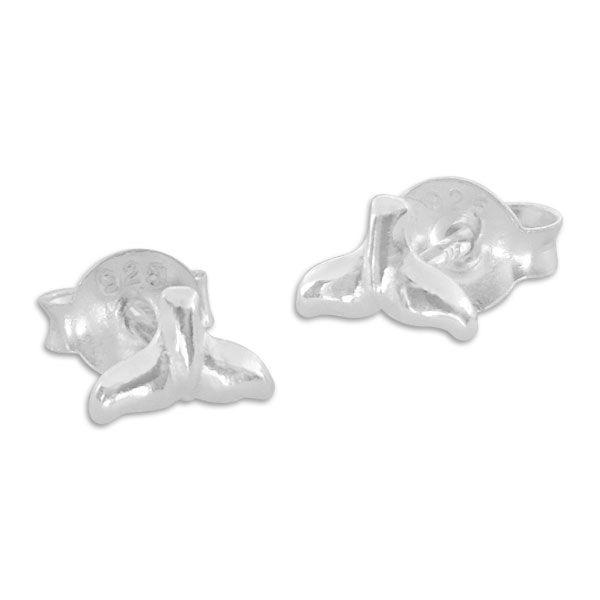 Kleine Walflossen Ohrstecker Ohrringe 925 Silber