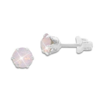 Kristall Ohrstecker Milky rosa rund 5 mm 925 Silber