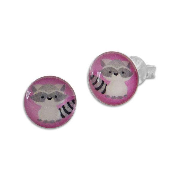 Runde Ohrstecker mit Waschbär 925 Silber Ohrringe für Kinder