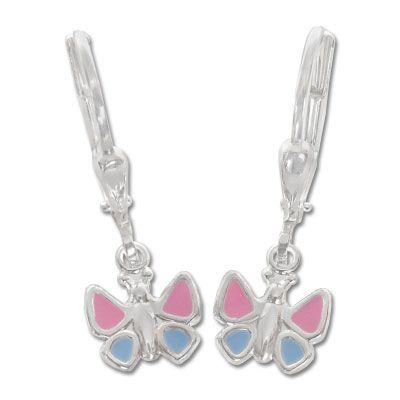 Kinderschmuck Ohrringe mit Schmetterlingen 925 Silber mit Klapp-Brisur