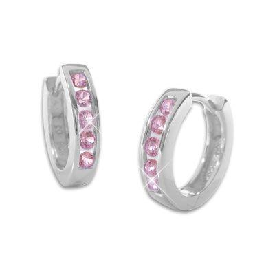 Klapp-Creolen mit rosa Steinen 14,5 mm 925 Silber Zirkonia Ohrringe für Damen