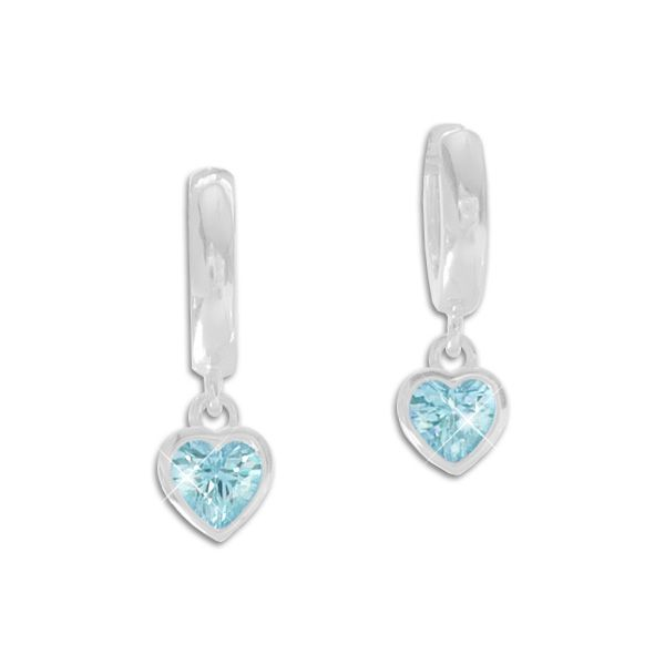 Creolen mit Herz Anhänger aquamarin blaue Zirkonia 925 Silber