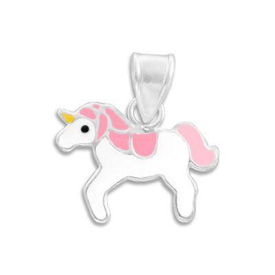 Silberanhänger Einhorn klein rosa weiß 925 Silber