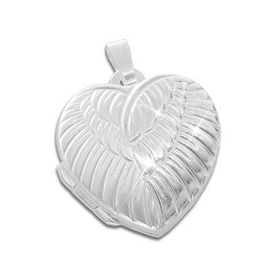 Engelsflügel Medaillon in Herz Form 925 Silber