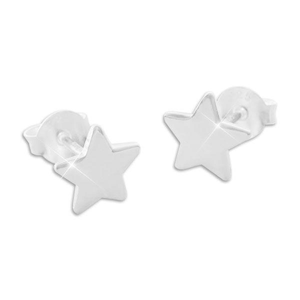 Ohrstecker mit Sternen 7 mm 925 Silber glänzende Stern Ohrringe