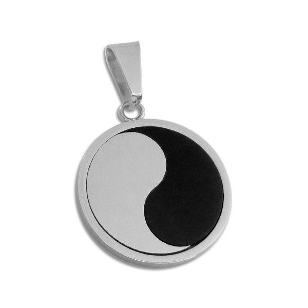 Anhänger Yin Yang ohne Punkte Edelstahl matt-glänzend