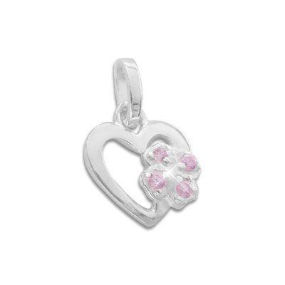Glücksanhänger für Kinder Herz mit rosa Kleeblatt 925 Silber