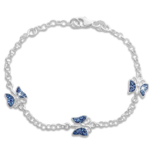 Armband Schmetterlinge mit blauen Strass Steinen 925 Silber 16 cm