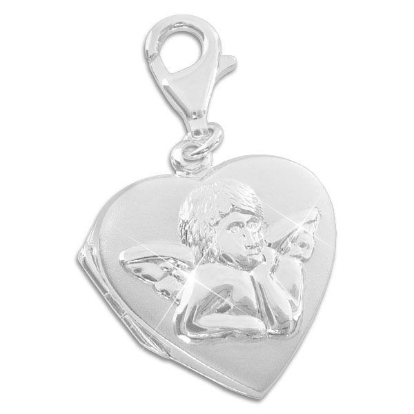 Charm Anhänger Herz Medaillon mit Engel 925 Silber