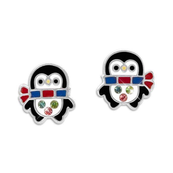 Pinguin Kinder Ohrringe Ohrstecker mit Schal und Kristallen 925 Silber