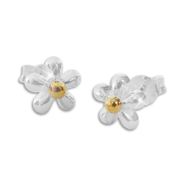 Ohrstecker Blume glänzend bicolor 925 Silber