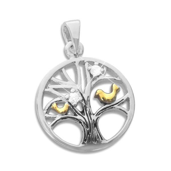 Bicolor Zirkonia Anhänger mit Baum des Lebens und Vögeln 925 Silber