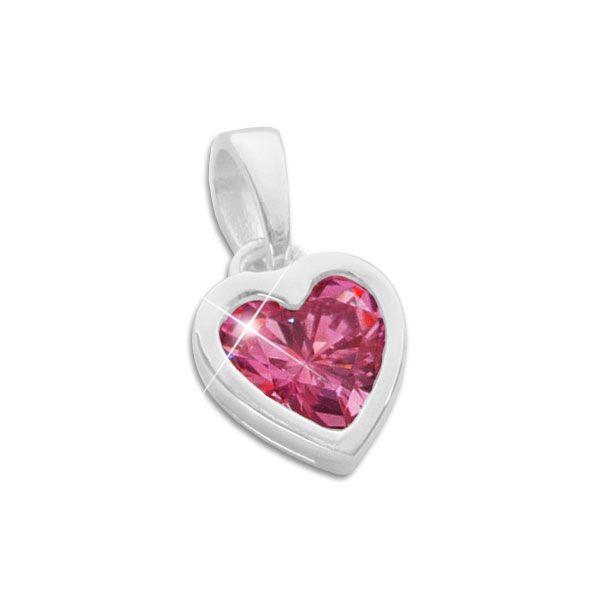 Herz Anhänger rubinroter Zirkonia 925 Silber Kinderschmuck für Mädchen Geschenk