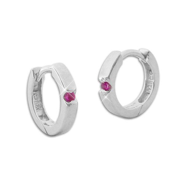 Glänzende Creolen mit rubinroten Zirkonia Steinen 925 Silber Klapp-Creolen für Damen und Mädchen